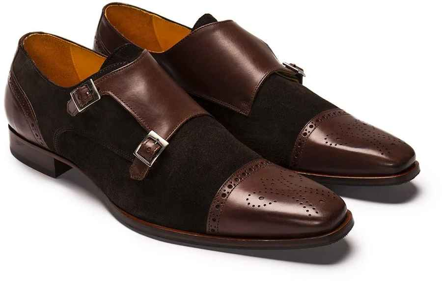 Chocolate Brown Suede and Leather Double Monk Strap Shoe