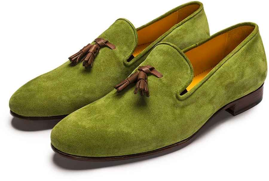 Apple Green Suede Tassle Loafer