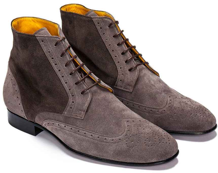 Grey Suede Wingtip Brogue Derby Boots