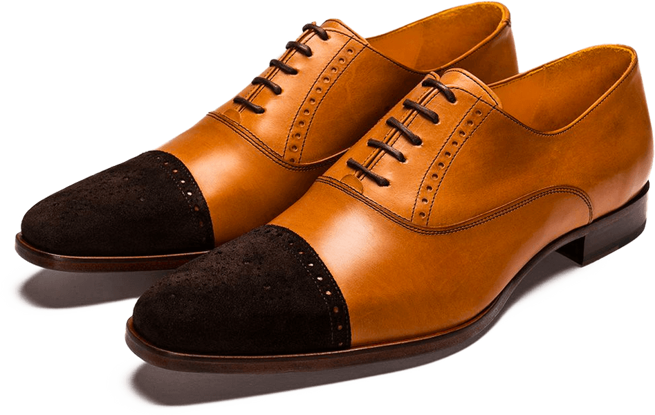 Custom Suede Toe Cap Tan Oxford Brogue Shoes