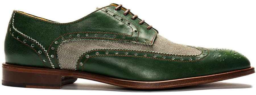 Green Wingtip Spectator Derby Shoe