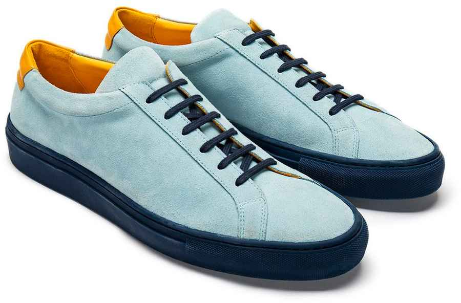 Blue Suede Trainers with Navy Outsole